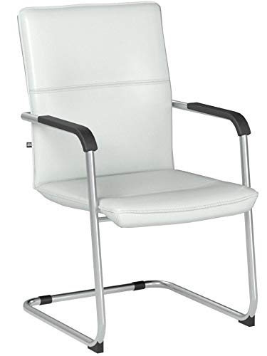 CLP Freischwinger Seattle mit Armlehne I Konferenzstuhl mit hochwertiger Polsterung und Kunstlederbezug I erhältlich Weiß