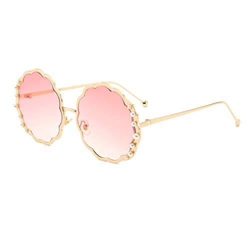 HQMGLASSES Round Sungbrillen für die Damenmode-Designerin Pearl Frame & Circle Tinted Gradient Lens Glasses UV400,01