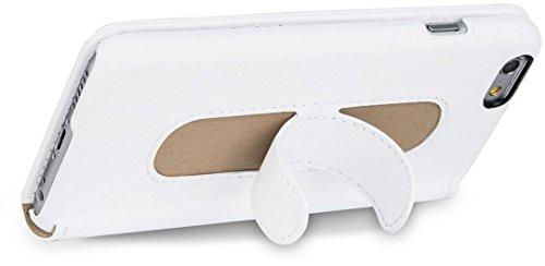"""StilGut Talis mit Standfunktion, schlanke Schutz-Hülle für iPhone 6s (4.7"""") mit Kreditkarten-Fächern aus echtem Leder. Seitlich aufklappbares Flip Case in Handarbeit gefertigt für das Original Apple i Weiß"""