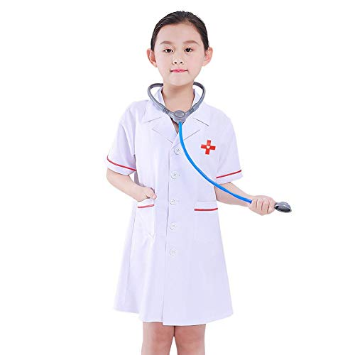 Kit Kostüm Kind - SHOH Doctor Kids Kostüm ER Hospital Surgeon Dr Uniform Mädchen Jungen Kinder Kostüm, Dress Up Kids Doctor Kostüm, Kids Dress Up Set Doctor Role Play Kostüm Pretend Play, White Doctor Kit