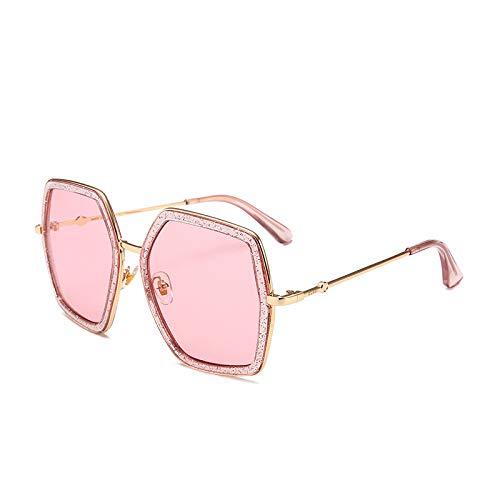 Yangjing-hl Super große Rahmen Polygon Sonnenbrille weibliche Modelle bunten Schatten Farbe Gläser Retro Sonnenbrille rosa Rahmen Pulver