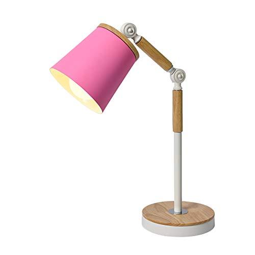 YJFFAN Schreibtischlampe, 360 °-Einstellung E27 Table Lamp Log Macaron Study Lampe Work Eye Protection Lights, Work Lamp, Office Lamp, Bedside Nightstand Lampe,Pink
