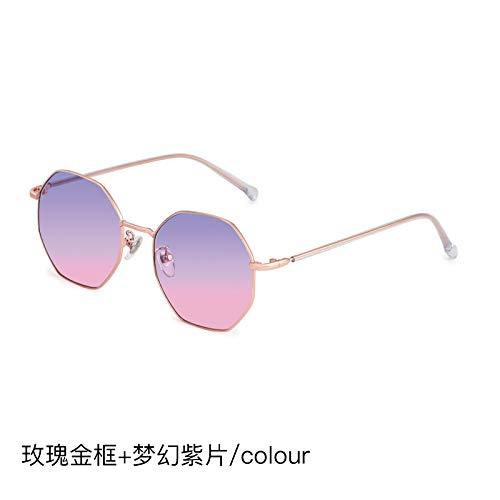 CFLFDC Sonnenbrillen Damenpolygon Blendende Brille Polarisierte Sonnenbrille 100% Uv-proof Kann Mit Einem Grad Ausgestattet Werden Rose Golden Frame + Flach Fantasy lila Scheiben