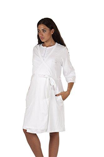 Premamy - Mujer Bata Premamá Para Embarazo y Lactancia - Color: Blanco - Tamaño: L