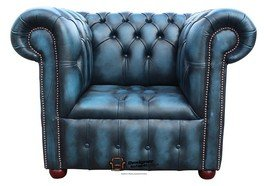 Designer Sofas4u Chesterfield zugeknöpft Sitz Low Back Club Sessel Antik Blau Leder