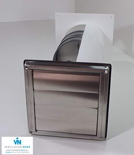 VentilationNord Mauerkasten Dunstabzug Edelstahl 150mm Blower Door Test Zertifikat VNESM150WSQLE