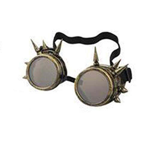 en Vintage Steampunk Cyber   Goggles mit Niet Schweißen Gothic Cosplay Brille für Halloween Wind Brille für Outdoor Reiten Halloween Dekor ()