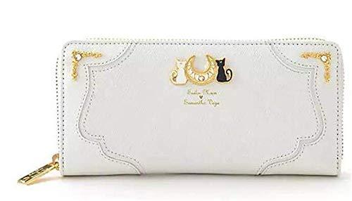 Sailor Moon Wallet Lady Monedero Largo Femenino Negro Color Blanco Gato Cuero de PU para Tarjeta de Moneda Embrague