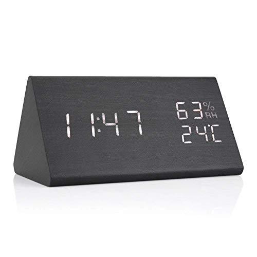 Yosoo Reloj de Alarma Digital con Retroiluminación Blanca Dígito 3 Niveles Brillo 3 Alarmas Reloj...