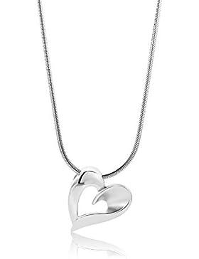 Miore Damen-Collier 925 Sterling-Silber Schlangenkette  Anhänger Herz teilweise matt 45cm