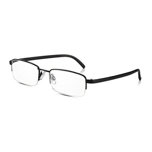 Read Optics Half Riemchen Lesebrille: Schwarz Retro Metallrahmen Leser für Männer/Frauen mit hoher Qualität ohne Rezept Rechteck Klare Linse +1 bis +3.5 Power