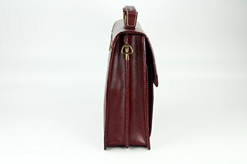 "BELLI ""Design Bag Tennessee"" mittelgroße Echt Nappa Leder Businesstasche unisex - Farbauswahl - 37x27x12 cm (B x H x T) Bordeaux"