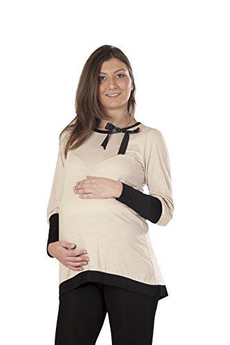 Eleganz Tunika (Premamy - Damen Umstands Top Tunika Schwangerschaft - Farbe: Beige - Größe: L)
