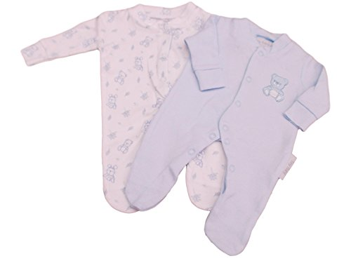 Tiny Baby BNWT Premature Preemie Teddy Twin Pack Sleepsuits In Blue (3-5lbs)
