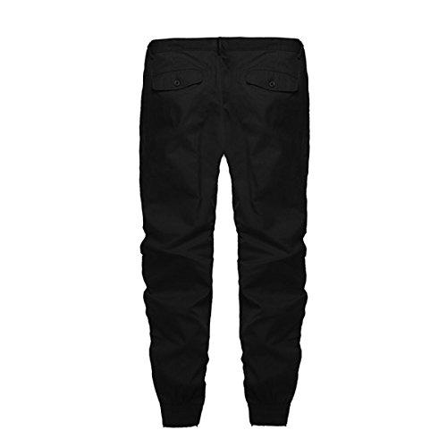 MODCHOK Herren Chino Jogginghose Jeanshose Freizeithose Cargo Hose Jogging Sweatpants Regular Fit Schwarz 3