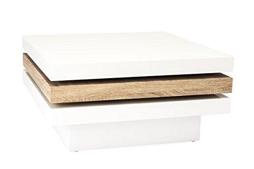 Couchtisch Beistelltisch MERGA Wohnzimmertisch Sofatisch in Weiß Hochglanz Sonoma Eiche 80 x 80 cm
