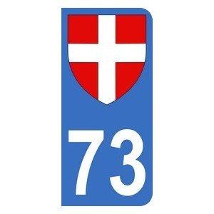 Autocollant 73 avec blason Croix de Savoie plaque immatriculation Auto (9,8 x 4,5 cm)