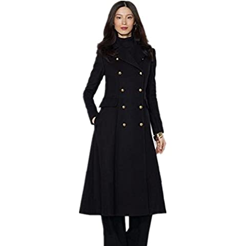 ZZHH Las mujeres traje de cuello cruzado chaqueta de abrigo de lana y largas secciones . m