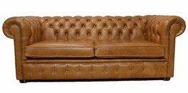 Chesterfield 3-Sitzer Sofa Old English TAN Leder Sofa -