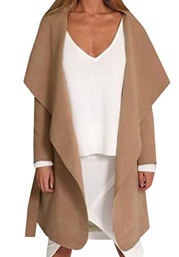 Andopa Damen faux shearling drapierte vertuschung-mantel mit taschen XL Khaki - Mit Mäntel Wolle-liner