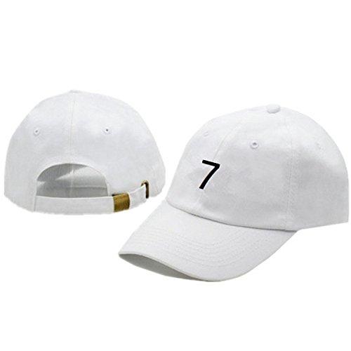 VIOY Nr. 7 Cristiano Stickerei Kappe im Freien Ronaldo Mode Straße Baseballkappe,Weiß,Einheitsgröße