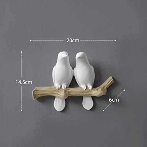YGGY Résine Oiseaux Figurine muraux Crochets décoratifs...