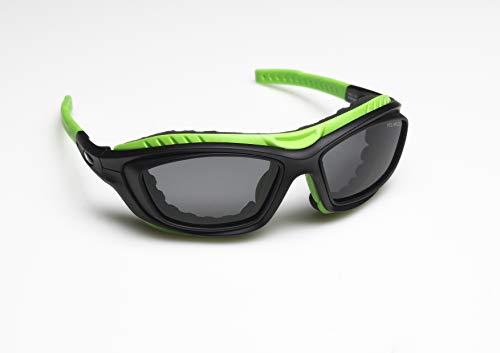 Zekko Sport - Ski - Sonnen Brille mit anpassbaren Bügeln und Nasenpads! Inkl. Augenschutzaufsatz gegen Wind und Kälte, leicht entfernbar und Waschbar. Unisex - Grün