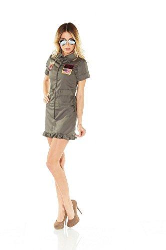 oten-Kostüm Jetpilotin Damen inklusive Brille Pilotenkostüm Jetpilot, Größe:L ()