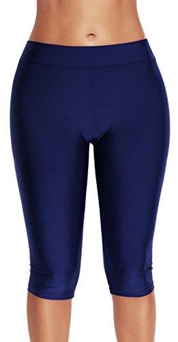 Eudolah Damen Schwarz Schwimm Leggings Knielang Schwimmshorts 3/4-Beine Badehose große Größen (3XL (Taillenumfang: 86cm), marineblau) (Hohe Und Große Sport-mäntel)