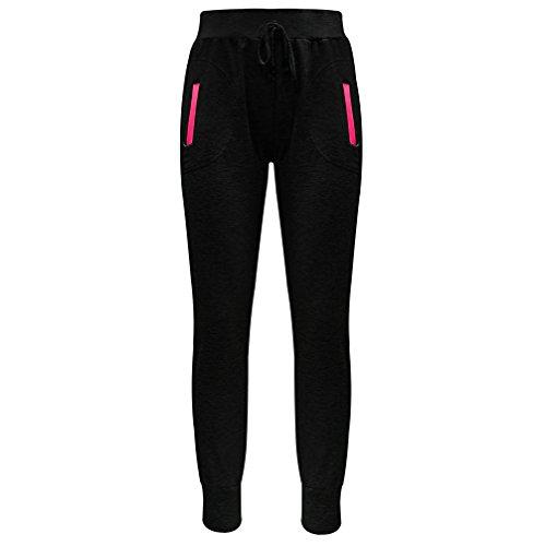Palleon Damen Sporthose Yogahose Fitnesshose Schwarz - Pink