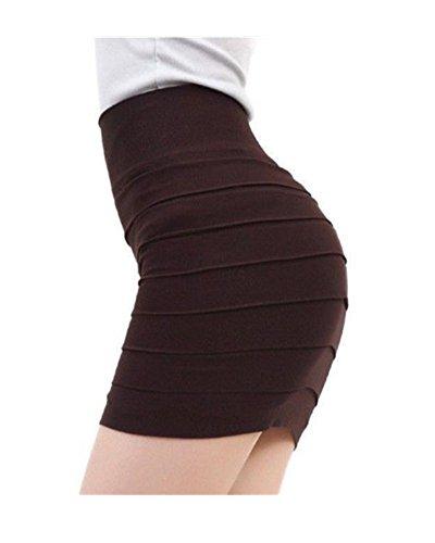 DAYAN Le donne sexy di estate alta vita pieghettato Skinny Mini Bandage dress Colore Brun Taglia unica