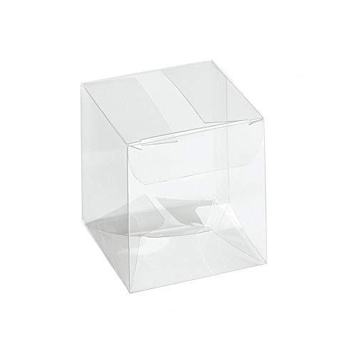 Takestop® set 12 pezzi scatoline bomboniera bomboniere scatola trasparente in pvc pieghevole portaconfetti porta confetti festa compleanno matrimonio battessimo comunione (6x6x12 cm)