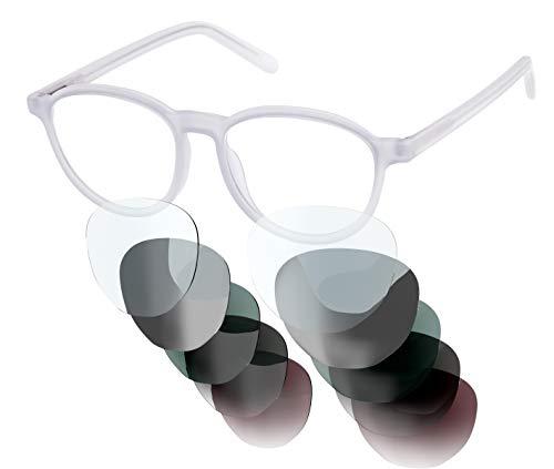 Sym Brille mit wählbarer Sehstärke von -4.00 (kurzsichtig) bis +4.00 (weitsichtig) und auswechselbare Gläser in 6 Farben, für Damen, Modell 01 in Milk White