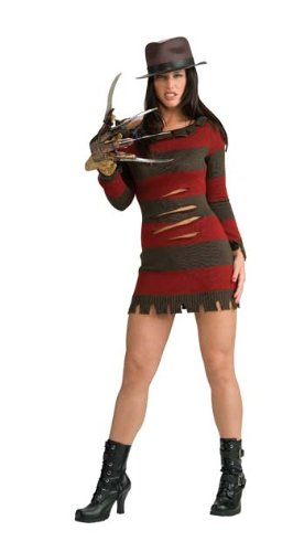 KULTFAKTOR GmbH Miss Freddy Krueger Lizenzkostüm Halloween-Damenkostüm braun-rot -