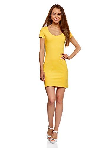 oodji Ultra Damen Enges Jersey-Kleid, Gelb, DE 36 / EU 38 / - Damen Gelb Kleider