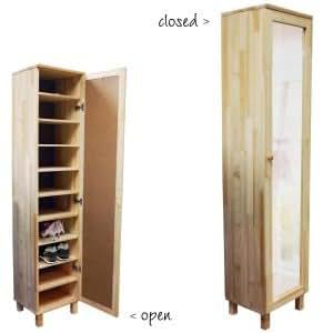 schuhschrank kiefernholz mit spiegel f r 10 paar schuhe k che haushalt. Black Bedroom Furniture Sets. Home Design Ideas