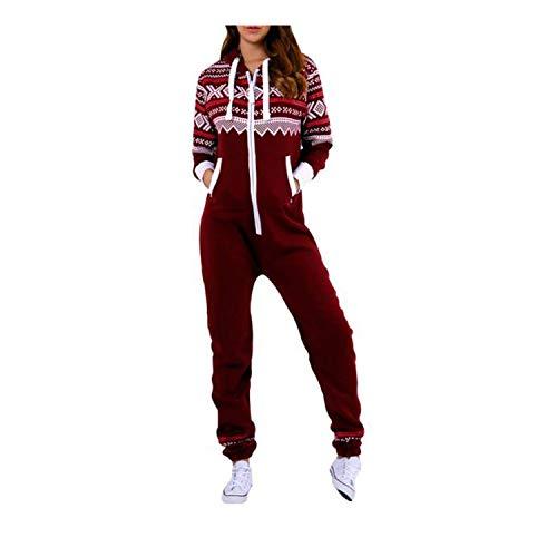 Dame Frauen One Zip Onesie Jumpsuit Playsuit Anzug Schlafanzüge Overalls Hoodies Nachtwäsche (X-Small, Wine-Aztec)