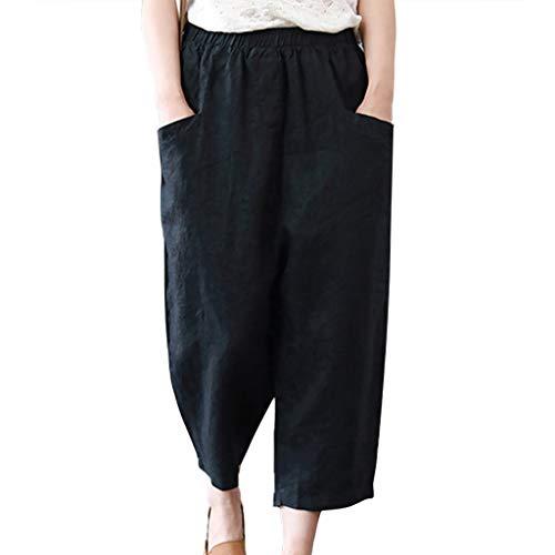 Frauen-hohe Taillen-gerade Lange Hosen-Reine Farben-beiläufige elastische Hosen Lange Hosen Leinen Baumwolle Elastische Hosen - Mc Hammer Kostüm Frauen