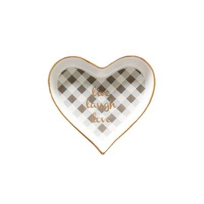 YUWANW Love Buchstabe Keramik Teller Verziert Golden Stroke Mini Aufbewahrungsbox Auflaufform Herz Jewelry Shooting Requisiten Koreanisch Auflaufform, weiß, Live Laugh Cozy -