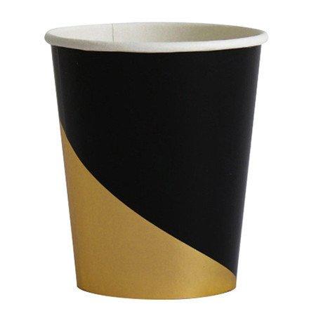 MH-RITA Schwarze Serie Gold Blocking Einmalgeschirr Party Pappteller Becher Servietten Trinkhalme Geburtstag Hochzeit Weihnachten Dekor, 8 Stk Papier Schale