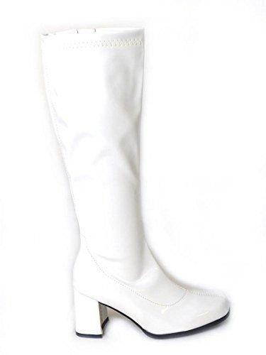 Gizelle Damen Karneval Go Go Stiefel 1960er & 70er Jahre Retro Größen 3–12, Weiß - weiße Lacklederoptik - Größe: 43