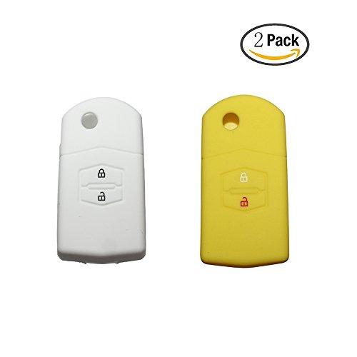 tuqiang® KFZ Schlüssel Cover für Mazda 236CX-3CX-5MX-5Klapp Flip Silikon 2Tasten 2Pack (gelb, weiß) (3-tasten-weißen Anzug)