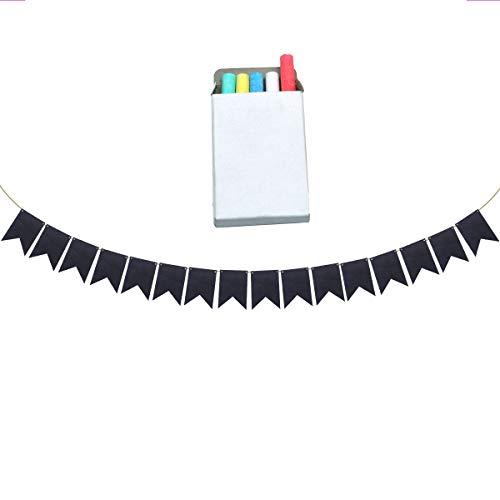2 Sets DIY Kreidetafel Banner Papier Flagge Girlande beschreibbar Banner mit 10 Kreide für Schule Klassenzimmer Party ()