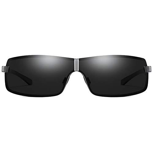 WULE-Sunglasses Unisex Schwarz/Gun Frame Black Lens Herren-Sonnenbrillen Fashion Night Vision Brillen New Metal Material Polarized Sonnenbrillen (Farbe : Gun)