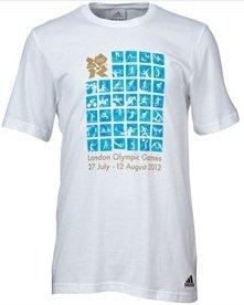 T-Shirt Olympia London 2012. Pictogramm Sportarten. weiß. Größe L