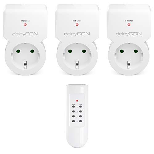 deleyCON Funksteckdosen Set 3x Funksteckdose + 1x Fernbedienung 4 Funkkanäle Funkschalter Set Innenbereich bis 30m 1100 Watt Kindersicherung - Weiß -