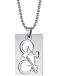 Aruie Schmuck Halskette Anhänger Fahrrad Hundemarke Plakette Durchbrochene  Einfache Polierte Edelstahl Biker Geschenk Mann 1c89c03bd8