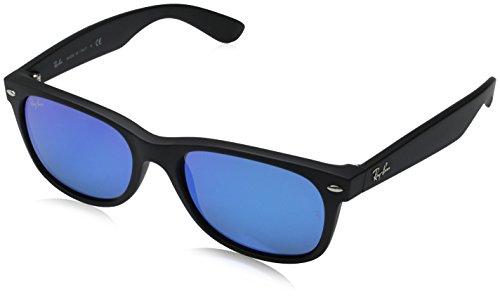 Ray-Ban Unisex Sonnenbrille New Wayfarer Matte Black Flash, Large (Herstellergröße: 55)
