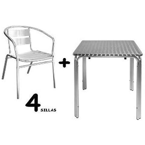 Conjunto de 4 sillas y mesa para hostelería