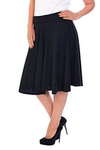 Neu Damen Übergröße Rock Skater Frau Plus-Size Plain Skirt Warm Nouvelle Collection 5007 (Größe 50-52, Schwarz) (Rock Plus Größe)